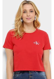 Blusa Calvin Klein Básica Feminina - Feminino-Vermelho