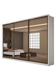 Guarda Roupa Casal C/ Espelho 3 Portas 6 Gavetas Spazio Super Glass Móveis Lopas Bege