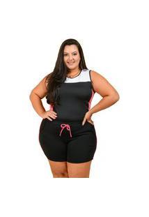 Conjunto Summer Body Short E Regata Plus Size Preto Com Rosa Salmão