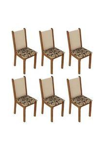 Kit 6 Cadeiras 4291 Madesa Rustic/Crema/Bege Marrom Cor:Rustic/Crema/Bege Marrom