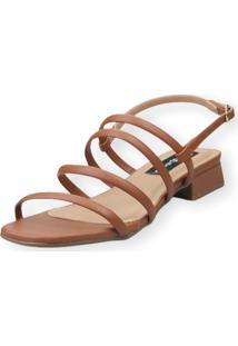 Sandália Saltinho Baixo Love Shoes Tiras Fashion Caramelo - Kanui