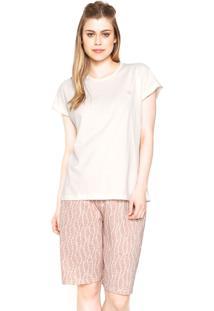 Pijama Pzama Bordado Bege/Rosa
