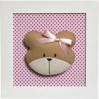 8762140ed Quadro Decorativo Cara Da Ursa Quarto Bebê Infantil Menina Potinho De Mel  Rosa
