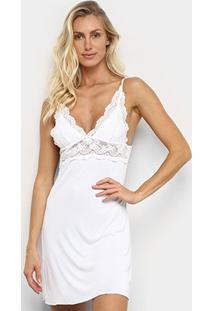 Camisola Lupo Com Renda De Alcinha Feminina - Feminino-Branco