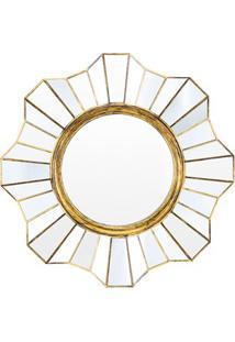 Espelho De Parede Redondo Flower 39X39Cm Ouro Velho