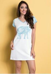 Camisola Manga Curta Branca E Azul