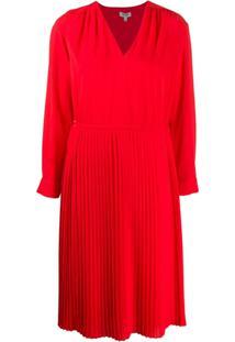 Kenzo Pleated Midi Dress - Vermelho