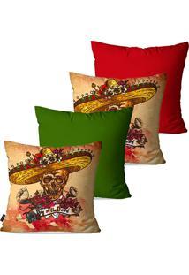 Kit Com 4 Capas Para Almofadas Pump Up Decorativas Bege Caveiras Mexicanas 45X45Cm