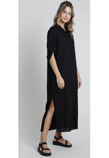Vestido Feminino Midi Com Fenda Manga Longa Preto