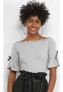 Blusa Lily Fashion Com Perolas Feminina - Feminino-Cinza
