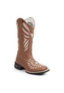 Botina Texana Feminina Troia Boots Cafe Bico Quadrado