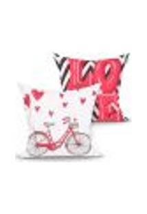 Jogo De Capa De Almofada Bicicleta E Love Vermelha Kit Com 2 Unidades 45Cm X 45Cm Com Zíper
