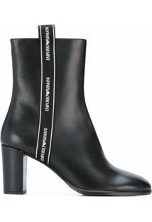 Emporio Armani Ankle Boot Com Acabamento De Logo - Preto