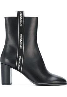 Emporio Armani Logo Trim Ankle Boots - Preto