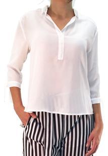1981e0454a6e9 Camisa Pólo Acinturada Off White feminina. Camisa 101 Resort Wear Manga 3 4  Off White