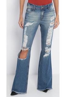 Jeans Flare Rasgado- Azul- Lança Perfumelança Perfume