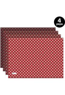 Jogo Americano Mdecore Natal Flocos De Neve 40X28 Cm Vermelho 4Pçs