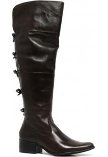 Bota Zariff Shoes Montaria Em Couro Laço Feminina - Feminino-Marrom