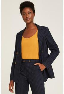 Blazer Riscas De Giz Bolsos Feminina - Feminino-Azul+Amarelo
