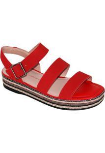 Sandália Dakota Platform Tiras Feminina - Feminino-Vermelho