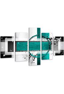 Quadro Oppen House 75X125Cm Abstrato Azul Turquesa Decorativo Interiores Luxo