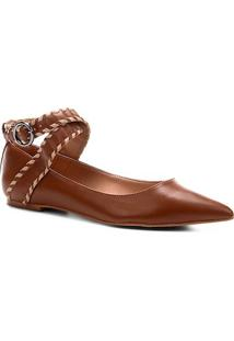 Sapatilha Couro Shoestock Bico Fino Nomade Crafts Feminina - Feminino-Caramelo
