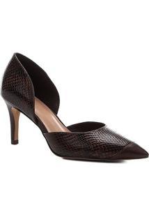Scarpin Shoestock Couro Snake Salto Alto - Feminino-Marrom