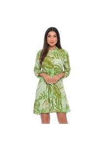 Vestido Chemise B'Bonnie Rebeca Estampa Verde