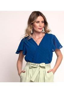 Body Bisô Decote Feminino - Feminino-Azul