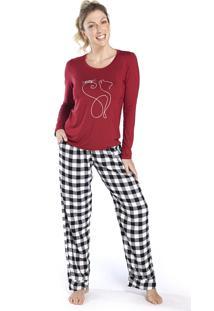 Pijama Feminino De Inverno Xadrez