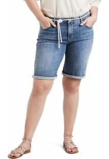 Shorts Jeans Levis Feminino Shaping Plus Size Lavagem Média - Feminino-Azul