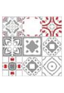 Adesivo De Azulejo Vermelho Cinza Vigo 15X15Cm 18Un
