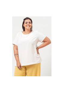 Blusa Ampla Almaria Plus Size Garage Vazado Posterior Off-White