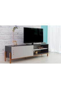 Rack Para Tv Preto Moderno Vintage Retrô Com Porta De Correr Cinza Eric - 166X43,6X48,5 Cm