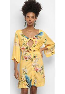 Vestido Farm Amarracao Flor Ao Vento - Feminino-Estampado