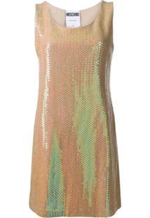 Moschino Vestido Mini Com Paetês - Dourado