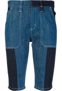 Chloé Bermuda Jeans Com Patchwork - Azul