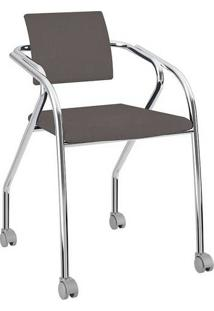 Cadeira Com Rodízios 1713 Cromada Napa/Cacau Carraro