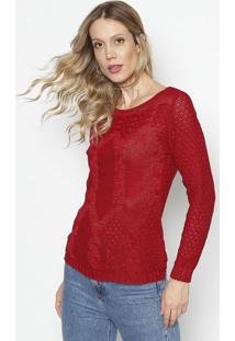 Blusa Em Tricã´ Com Tranã§Ados- Vermelho- Ponto Aguiarponto Aguiar