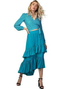 Blusa Femina Ml Transpassada Azul