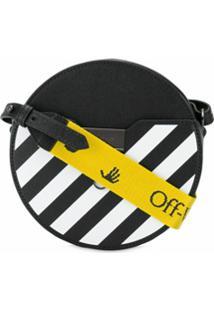 Off-White Bolsa Transversal Redonda Com Listras Diagonais - Preto