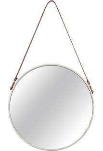 Espelho Redondo Decorativo 36 Cm Off White