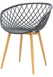 Cadeira Clarice Assento Em Polipropileno Preto Com Base Palito Cor Madeira - 45018 Sun House