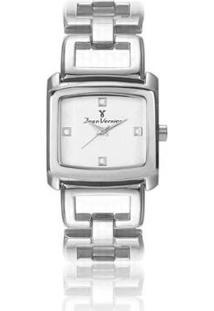 Relógio Jean Vernier Aço Inoxidável Resistente Água Feminino - Feminino-Prata