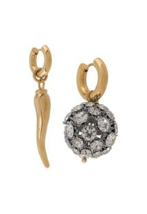 Timeless Pearly Par De Brincos De Argola Assimétrica - Dourado