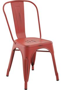 Cadeira Iron Sem Braço Vintage Vermelho Rivatti Móveis