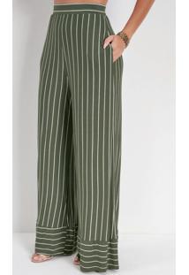 Calça Pantalona Listrada Verde Com Elástico