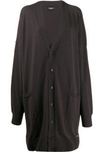 Dsquared2 Cardigan Longo Com Decote V - Cinza