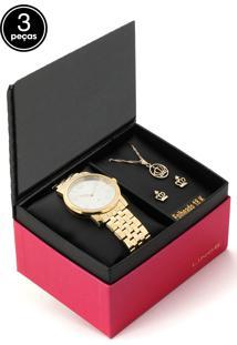 Kit 3 Pçs Relógio Lince Lrg4555L-Kv04S2Kx Dourado