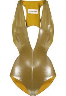 Alexandre Vauthier Body Com Decote Profundo - Dourado